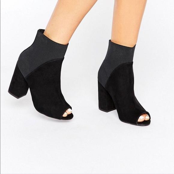 New New Look Suede Peep Toe Sock Boot